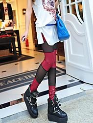 leggings de malha de costura das mulheres