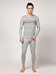 Men's Comfortable Round Collar Slim Cotton Thermal Underwear Set