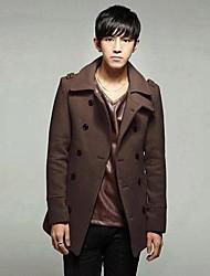 Men's Long Sleeve Regular Coat , Cotton/Wool Blend Pure