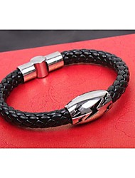 Lureme®European Style Men's Lightning Serpentine Weave Titanium Steel Bracelet