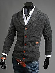 collo di modo V dell'annata di colore solido aderente per il tempo libero di lavoro a maglia del cardigan degli uomini di geshibang