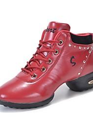 Niet Aanpasbare - Voor dames - Dance Schoenen ( Zwart/Rood ) - met Lage Hak - en Dans Sneakers