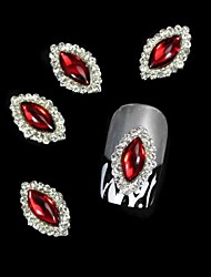10pcs Red Marquise DIY Alloy Accessories Nail Art Decoration