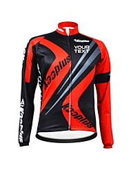 KOOPLUS Unisex Winter Customized Cycling Clothing Long Sleeve Thermal Fleece Cycling Jersey--Black+Red