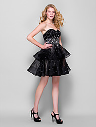 Homecoming Cocktail Party Dress - Black Ball Gown Sweetheart Short/Mini Organza