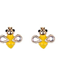 Fashion Women Enamel Bee Stud Earrings