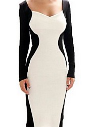CoCo Zhang Women's Back White Contrasted Color Badycon Dress