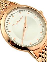 reloj de manera del cuarzo banda de aleación de esfera redonda de las mujeres