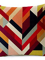 Multicolor Geometric Cotton/Linen Decorative Pillow Cover