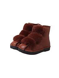botas cómodas cuero de la PU de las mujeres del fashional bajas térmicas con pelo cony