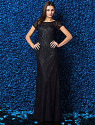 Sheath / Column Jewel Neck Floor Length Lace Prom Formal Evening Black Tie Gala Dress with Lace by TS Couture®