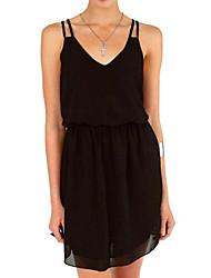 TS Deep V/Strap Dress , Chiffon Mini Sleeveless