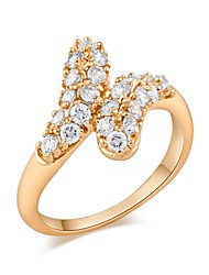 Woman's Fashion Elegant Gold-Plated Butterfly Crystal Micro Insert Ring