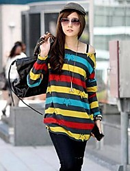Women's Striped Blue/Yellow T-shirt , Casual/Plus Sizes Round Neck Long Sleeve