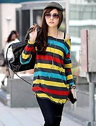 rayas de las mujeres de color flojo camiseta
