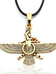 Men's Zinc Alloy Yellow Eagle Black Rope Necklace Zoroastrianism Ahura Mazda Christmas Gifts