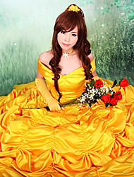 Beauty and the Beast Princess Belle Yellow Satin Evening Gown Dress Women's Halloween Costume