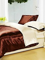funda nórdica conjunto, café&camello luz seda mezclada colores hotel de 4 unidades de doble tamaño completo reina