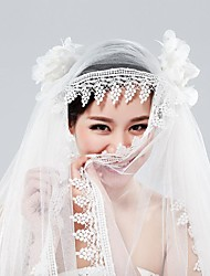 Fingertip Bridal Cap Veils with Lace Trim with Handmade Flower ASV55
