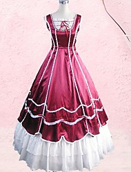 Sleeveless Floor-length Wine Red Cotton Gothic Lolita Dress