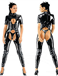 Hot Tight  Dew Chest Leotard Black PU Leather Sexy Uniforms