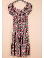 Schüttelfrost schlichtes Design Mode Kurzarm-Kleid blau