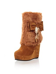 Women's Fall / Winter Wedges / Round Toe / Fashion Boots Faux Fur Dress Wedge Heel Bowknot Black / Brown / Beige