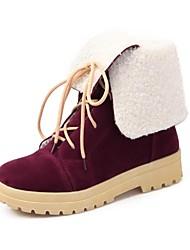 sapatas das mulheres rodada toe ankle boots calcanhar flat / metade da panturrilha (dois modos disponíveis)