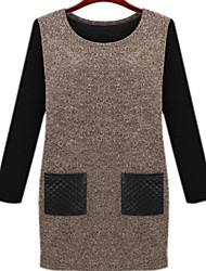 Women's Plus Sizes PU Pocket Dress (More Colors)