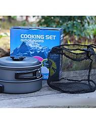 Outdoor Camping Hiking Cookware Backpacking Cooking Picnic Pot Pan Set (7 PCS)