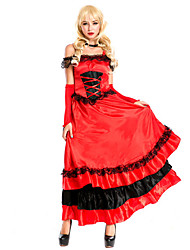 Hot & Crazy Spanish Dance Dress Red Terylene Halloween Costume