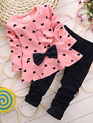 Girl's Fashion Love Bowknot Clothing Set(Blouse&Pant)