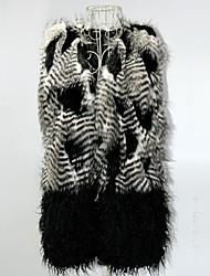 fausse fourrure nouveau style de gris et noir des femmes gilet long mince avec ceinture
