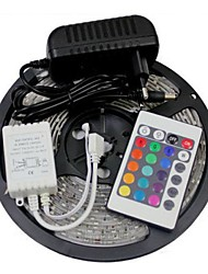 Waterproof 5M 300X3528 SMD RGB LED Strip Light and 24Key Remote Controller and 3A UK Power Supply (AC110-240V)