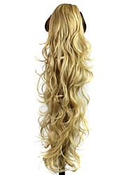 Claw Clip Synthetic 28 Inch Golden Blonde Long Curly Ponytail