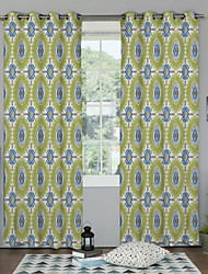 Two Panels Neoclassical / Designer Floral / Botanical Multi-color Bedroom Polyester Panel Curtains Drapes