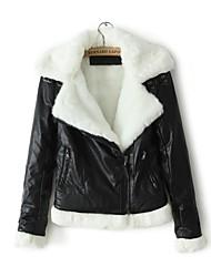 Faux Leather Jacket Women's Long Sleeve Turndown PU Jacket