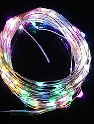 10m 9.6W levou 100 e cinco cor flash de luz da lâmpada do Natal luz de tira (DC 12V, linha de cobre)