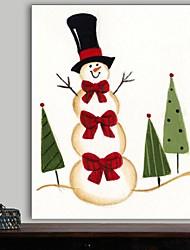 Weihnachtsdekoration Leinwand Drucke Kunst Cartoon Schneemann mit drei roten Schleifen durch beverly johnston