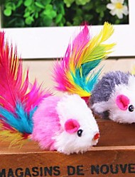 Cat / Dog Pet Toys Mouse Toy / Feather Toy Mouse Multicolor Textile
