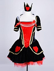 Cute Red Heart Queen Short Sleeves & Broad Collar Terylene & Lace Cosplay Costume