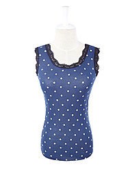 New Stylish Lace Collar Fitting Vest Style Dress Navy Blue