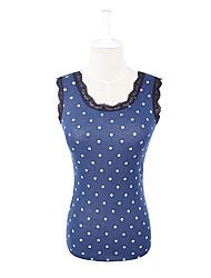 robe nouveau style gilet montage élégant col en dentelle bleu marine