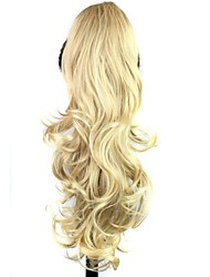 Claw Clip Synthetic 25 Inch Blonde Long Curly Ponytail