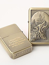 Personalized Engrave Gold  Metal Oil Lighter - Wolf
