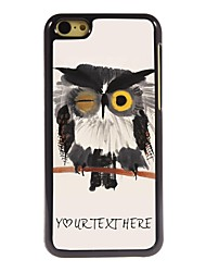caso de telefone personalizado - piscar caso coruja design de metal para iphone 5c