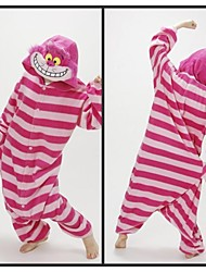 Kigurumi Pajamas Cat / Chesire Cat Leotard/Onesie Halloween Animal Sleepwear Pink Striped Polar Fleece Kigurumi Unisex Halloween