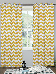 Modern Minimalist Yellow Chevron Curtain (Two Panels)