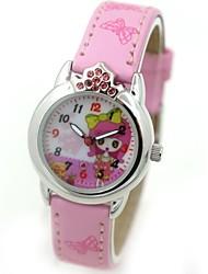 Children's Fashion Crystal Crown Case PU Band Quartz Wrist Watch