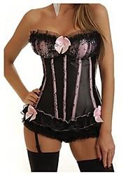 Pink Polyester Ruffles Gothic Lolita Corset